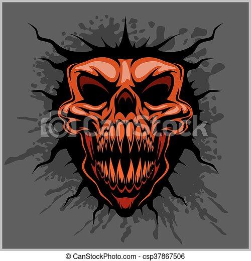 aggressive skull for motocross helmet - csp37867506