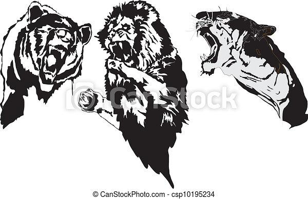 Line Art Animals Tattoo : Aggressive tattoo animals made in eps