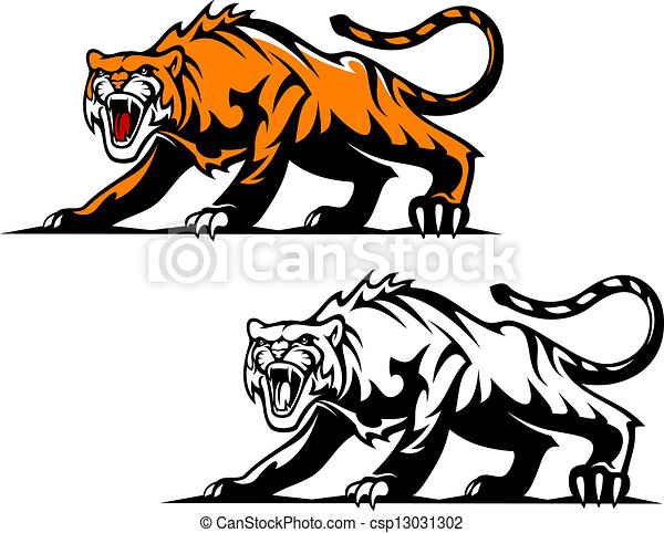 aggressive tiger in hunting pose for mascot design rh canstockphoto com tiger paw vector art tiger vector art free download