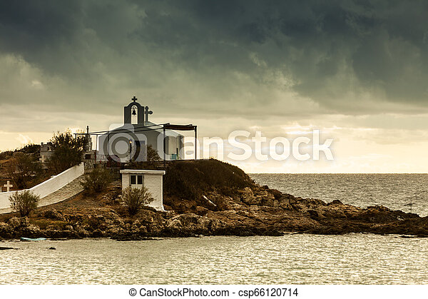 Agios Fokas at stormy weather Greece - csp66120714