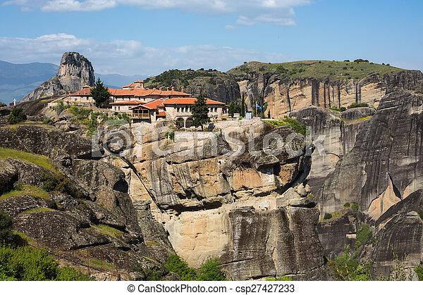 Agios Stefanos St Stefan Monastery on Meteora cliff, Greece - csp27427233