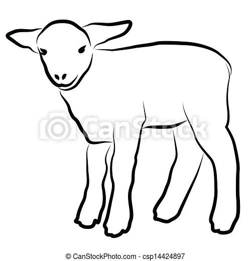 Agneau blanc silhouette isol - Dessin agneau ...
