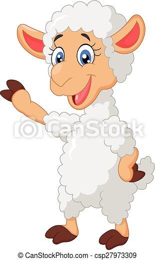 Agneau onduler dessin anim agneau onduler vecteur dessin anim illustration - Dessin agneau ...