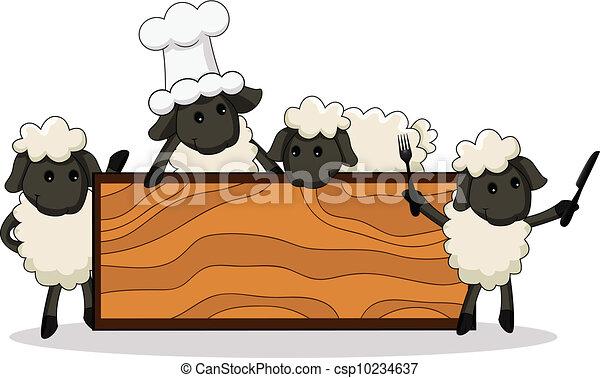 agnello, carino, cuochi, diverso, charac - csp10234637