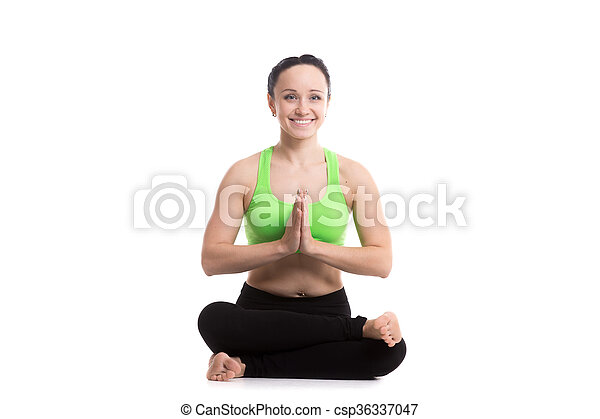 agnistambhasana yoga pose beautiful happy sporty girl