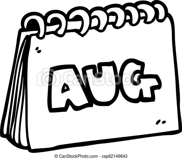 Agosto Mostrando Mes Calendario Forre Desenho Caricatura