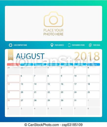 Calendario De Semanas.Agosto Planificador Ilustracion Comienzo Domingo Vector Calendario Escritorio 2018 Semanas O