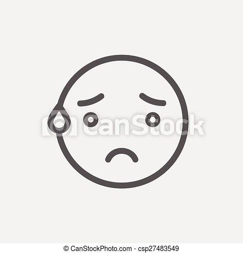 Un icono de línea delgada y sonriente - csp27483549