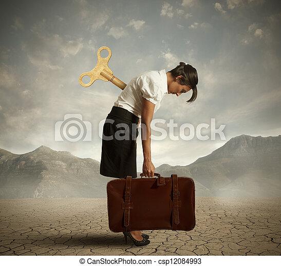 Mujer de negocios cansada - csp12084993