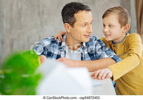 agréable, liaison, père, bureau, fils - csp54972453