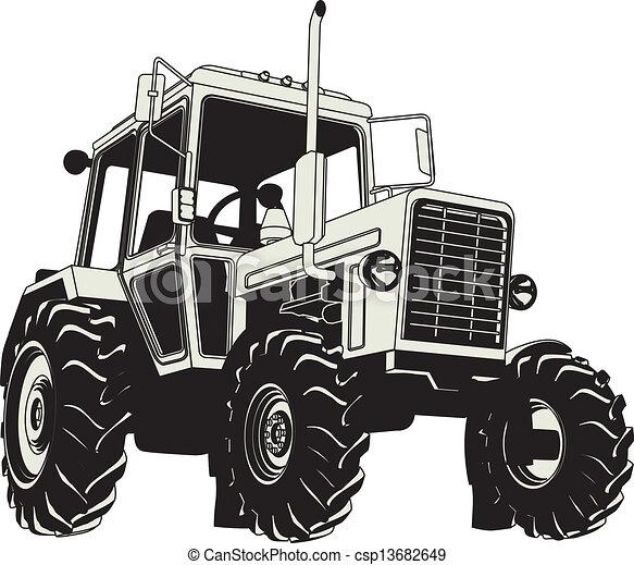 agrícola, vetorial, silueta, trator - csp13682649