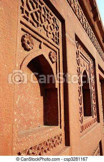 agra, fort, inde, architecture, détails - csp3281167
