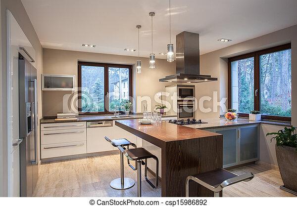 Casa de Travertine, cocina agradable - csp15986892