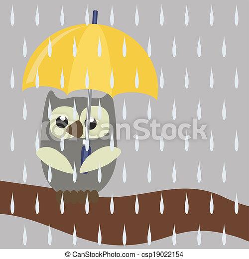Bonito búho con paraguas - csp19022154