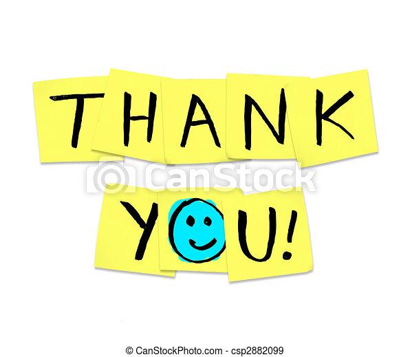 agradecer, notas, -, amarillo, pegajoso, palabras, usted - csp2882099