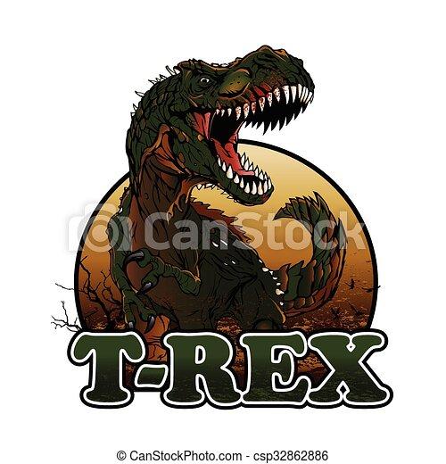 Agressive t rex illustration - csp32862886