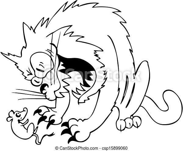 Agresywny Mysz Caught Kot Caught Ilustracja Kot Wektor