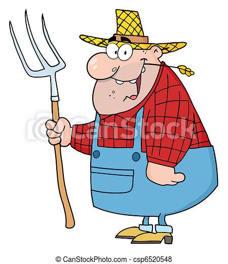agricultor, ancinho, homem, carregar - csp6520548