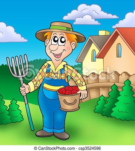 agricultor, caricatura, jardim - csp3524596