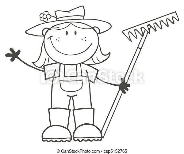 agricultor, menina, esboçado - csp5152765