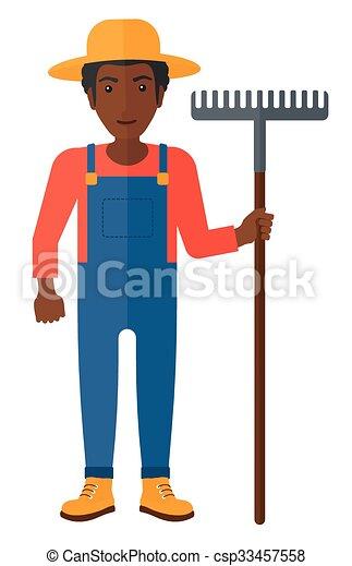 agricultor, rake. - csp33457558