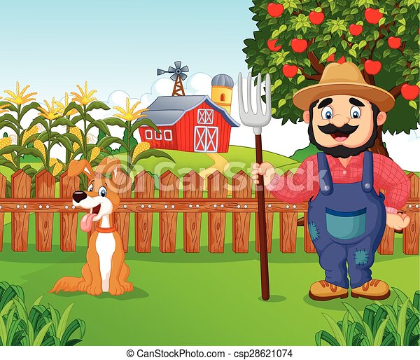 agricultor, segurando, caricatura, ancinho - csp28621074