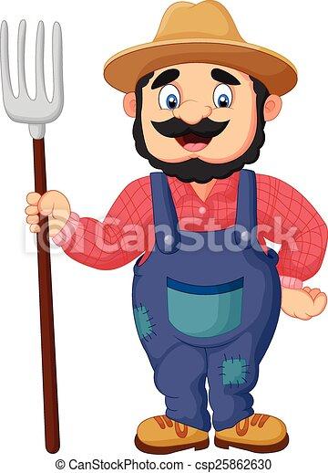 agricultor, segurando, caricatura, ancinho - csp25862630