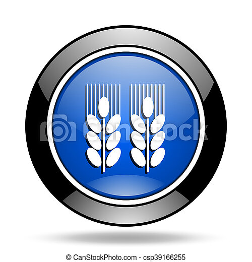 agricultural blue glossy icon - csp39166255