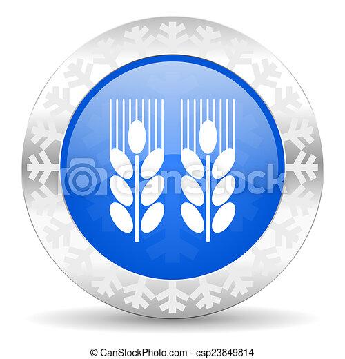 agricultural blue icon, christmas button - csp23849814
