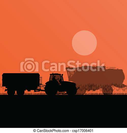 Agricultural combine harvester and tractor in grain field seasonal farming landscape scene illustration background vector - csp17006401