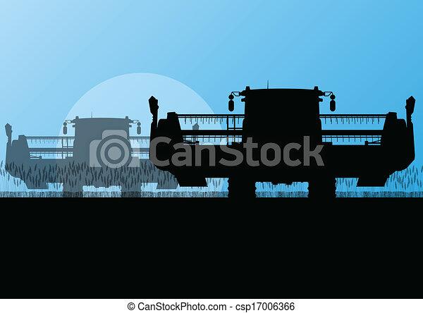 Agricultural combine harvester in grain field seasonal farming landscape scene illustration background vector - csp17006366