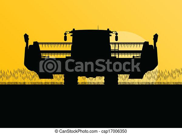 Agricultural combine harvester in grain field seasonal farming landscape scene illustration background vector - csp17006350