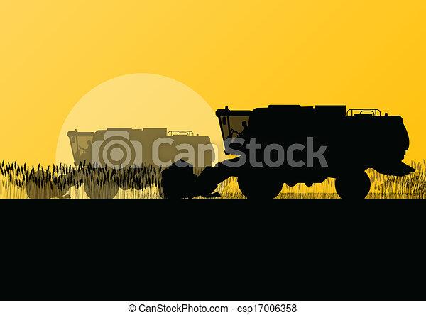 Agricultural combine harvester in grain field seasonal farming landscape scene illustration background vector - csp17006358