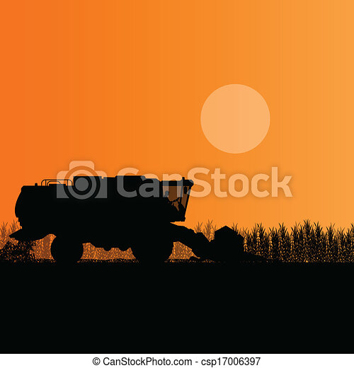 Agricultural combine harvester in grain field seasonal farming landscape scene illustration background vector - csp17006397