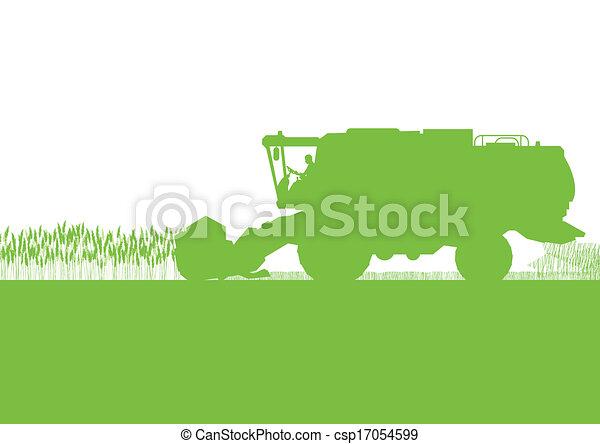 Agricultural combine harvester in grain field seasonal farming landscape scene illustration background vector - csp17054599