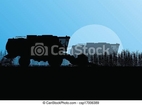 Agricultural combine harvester in grain field seasonal farming landscape scene illustration background vector - csp17006389