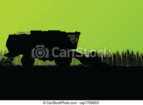 Agricultural combine harvester in grain field seasonal farming landscape scene illustration background vector - csp17006331