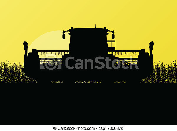 Agricultural combine harvester in grain field seasonal farming landscape scene illustration background vector - csp17006378