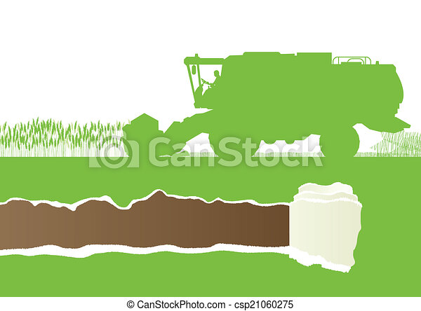 Agricultural combine harvester in grain field seasonal farming l - csp21060275