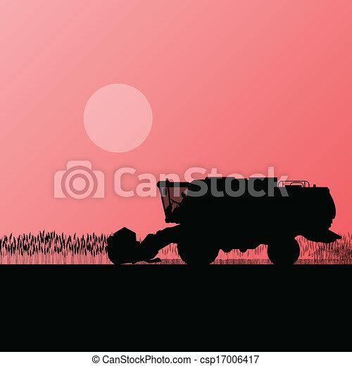Agricultural combine harvester in grain field seasonal farming landscape scene illustration background vector - csp17006417