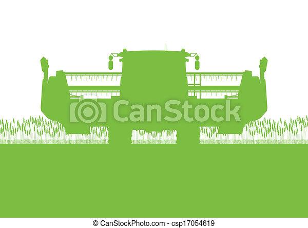 Agricultural combine harvester in grain field seasonal farming landscape scene illustration background vector - csp17054619