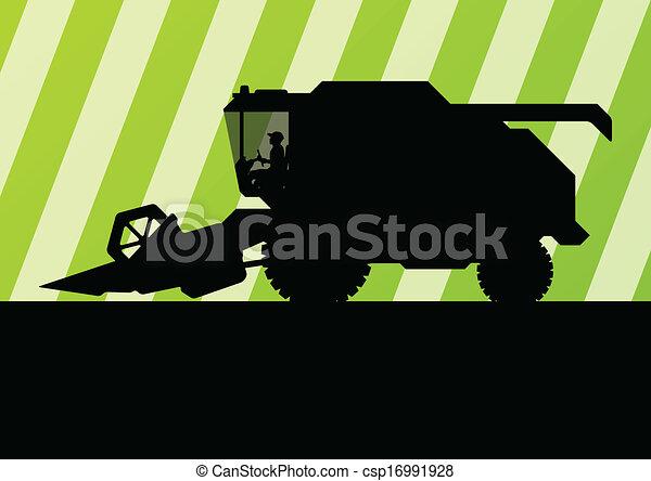 Agricultural combine harvester seasonal farming landscape - csp16991928