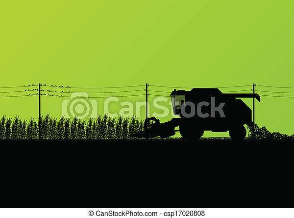 Agricultural combine harvester seasonal farming landscape scene illustration background vector - csp17020808
