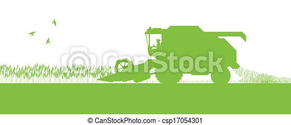 Agricultural combine harvester seasonal farming landscape ecology concept - csp17054301
