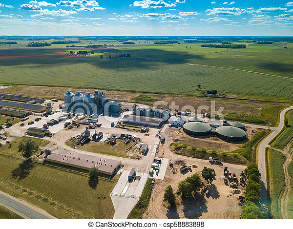 Agricultural , factory aerial view. Green field. - csp58883898