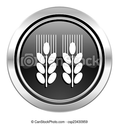 agricultural icon, black chrome button - csp23430959