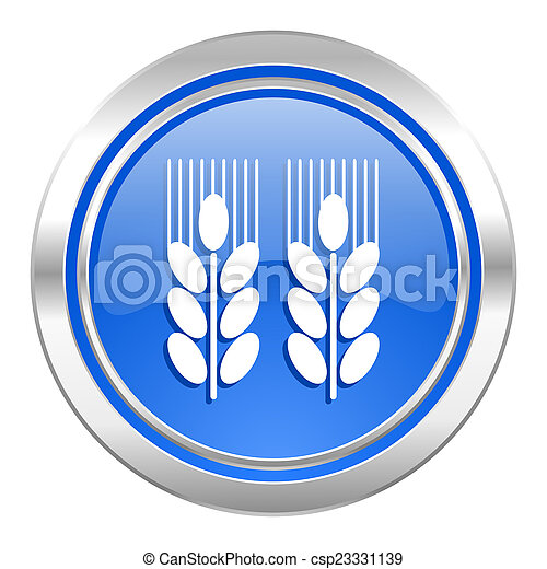 agricultural icon, blue button - csp23331139