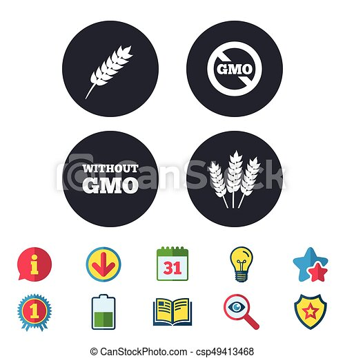 Agricultural icons  GMO free symbols