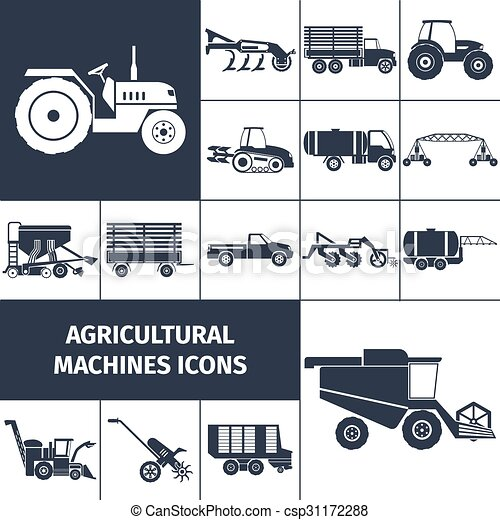 Agricultural Machinery Black White Icons Set  - csp31172288