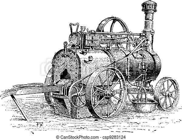 Agricultural Traction Engine, vintage engraving - csp9283124